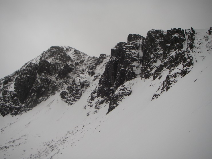 Cliffs above Coire nan Lochan looking somewhat stripped.