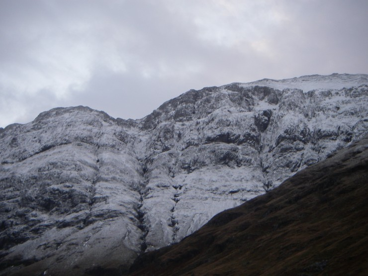 A fresh dusting of snow on the West face of Aonach Dubh