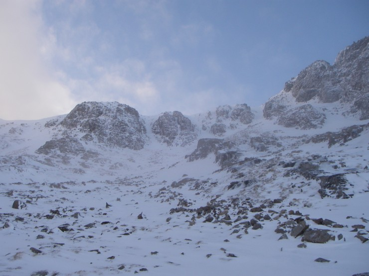 The headwall of Coire na Tulaich. Todays pit site was just to the right of the squat left-hand buttress.