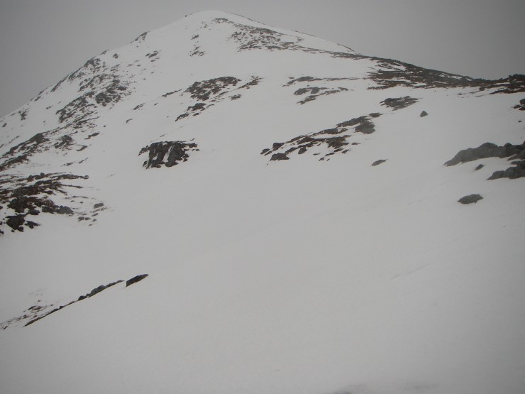 A fair bit of snow (and not too much rain) on the East side of Point 902, Buchaille Etive Beag