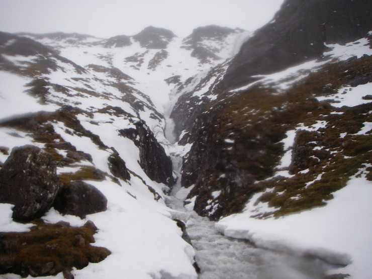 Even high up the Lochan burn was an impressive torrent.