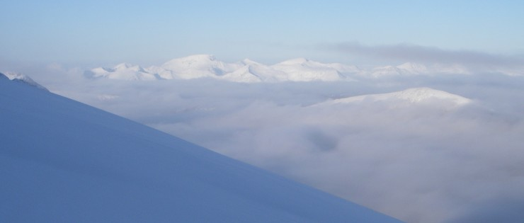 Looking North over a cloud inversion to the Mamores and Ben Nevis.