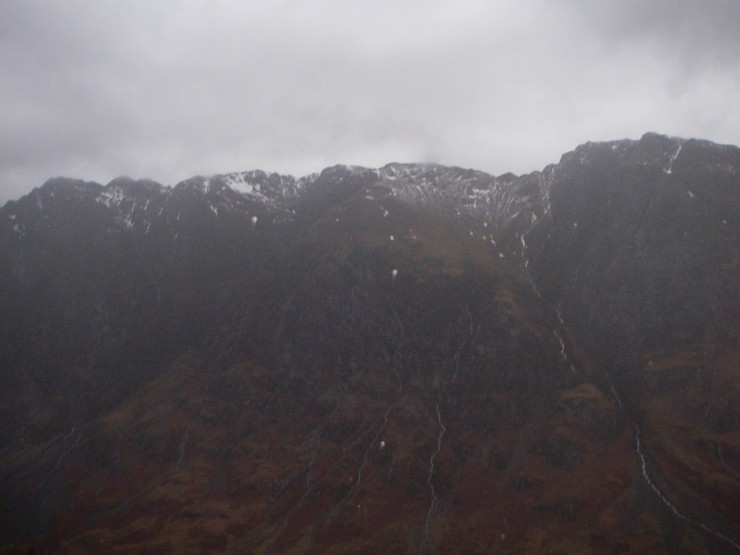 The Aonach Eagach looking pretty bare.