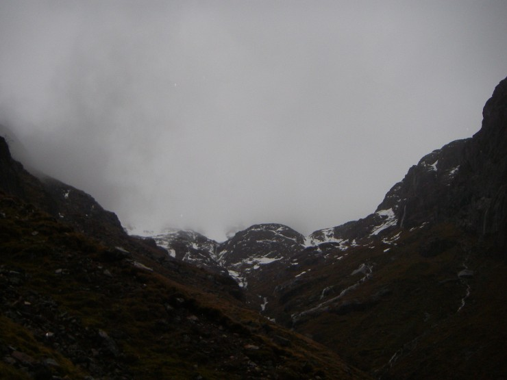 Stob Coire nan Lochan hiding in the mist and rain.