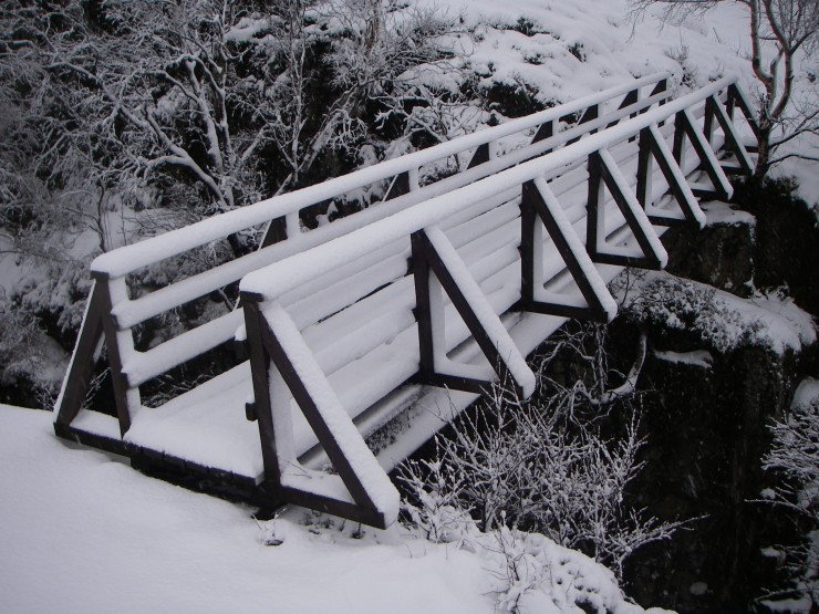It seemed a pity to use the snow adorned Coe bridge to go up into Lochan.