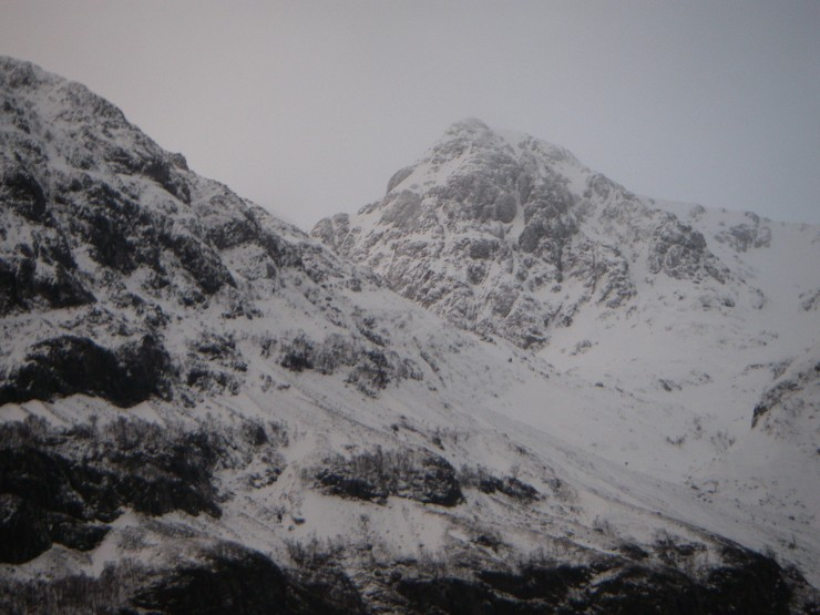 Stob Coire nam Beith from the road, first thing.