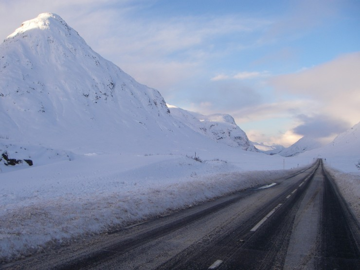 Buachaille Etive Beag and the A82 this morning