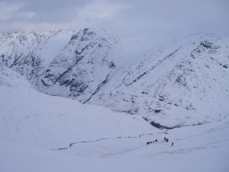 Looking back down into the  Glen with the Aonach Eagach ridge behind.
