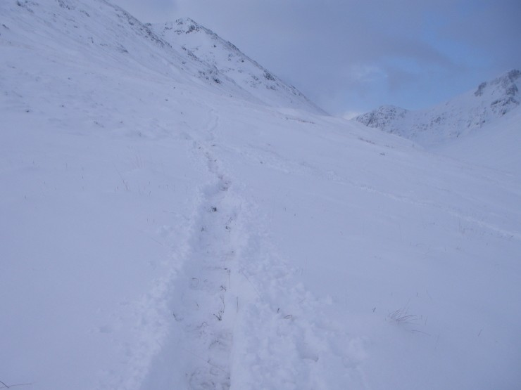 Soft snow making for hard going at 400 metres. Fortunately there was a good trail by the time I got there