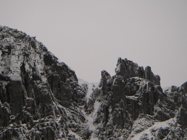 A large cornice has formed at the top of North Gully in Lochan
