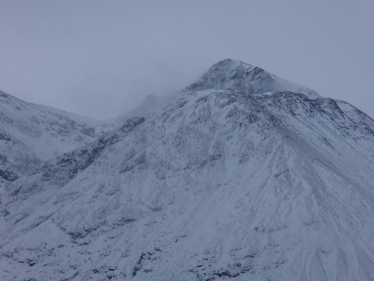 Stob Coire nam Beith at 9am this morning before it really started to snow.