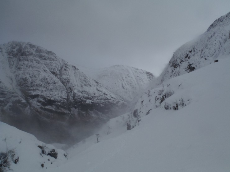 View from Coire nan Lochan towards the Pass of Glencoe towards A'Chailleach.