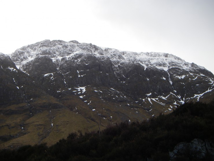 Across the road the upper tier of the West face of Aonach Dubh showing snow down to about 800m.