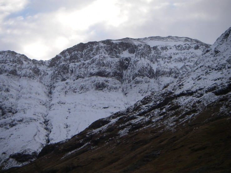 The West face of Aonach Dubh(NW facing) showing quite a plastering of snow.
