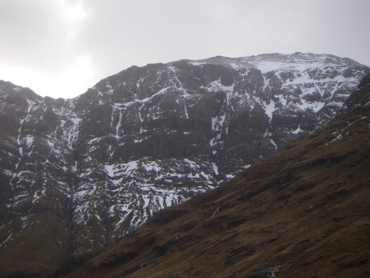 Less snow on the West face of Aonach Dubh after overnight thaw