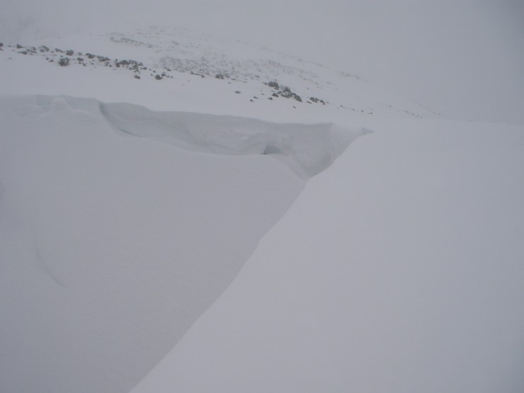 The Lochans  cornices are starting to build - this is the top of SC Gully.