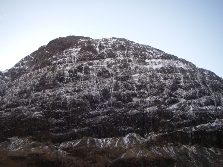The Achintore Face, all too often streaked in water, streaked in ice today.