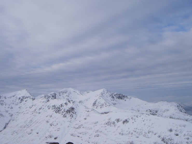 A wintry sky over the Bidian massif-plenty of snow in Coire nan Lochan