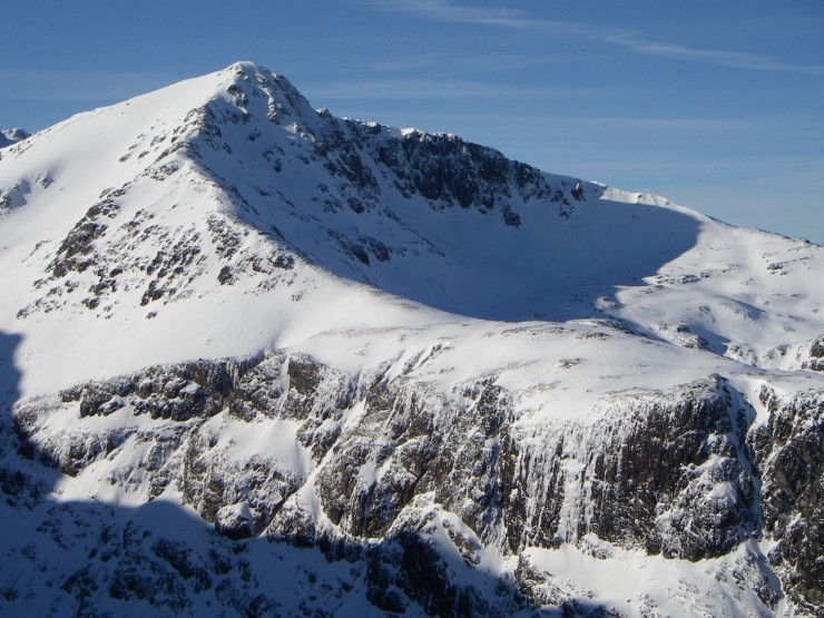 Stob Coire and Lochan. Ice forming on the Mom Rai face.