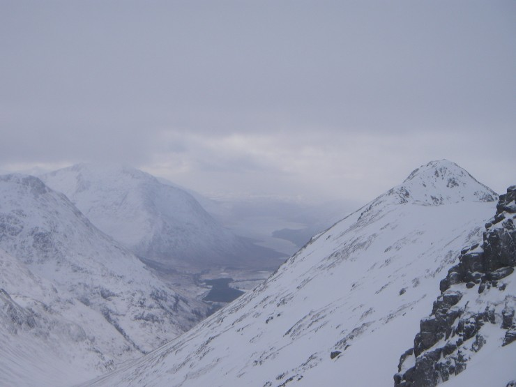 The sky cleared to give a good view down Glen Etive-Ben Starav looming above the loch