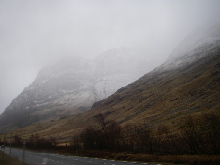 Fresh snow quite low on the West face of Aonach Dubh