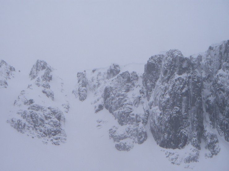 The cliffs looked very wintry - large cornices above Twisting Gully