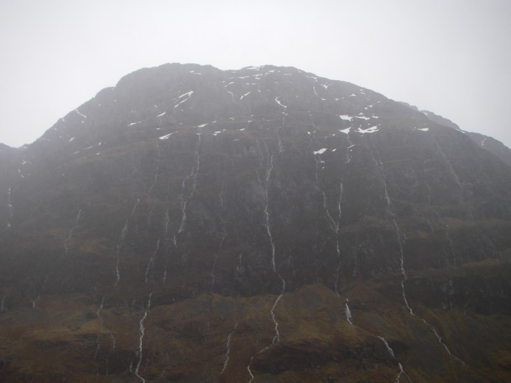 The North face of Aonach Dubh weeps - for a winter lost?