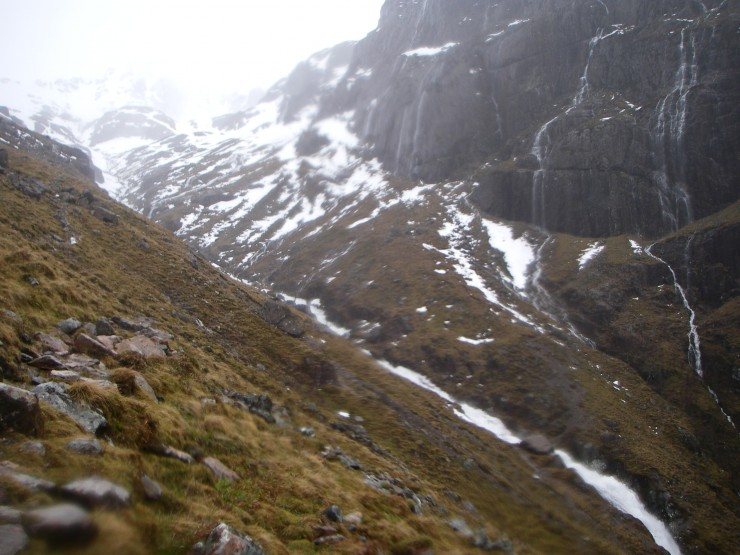 The burn out of Coire nan Lochan was an impressive torrent.