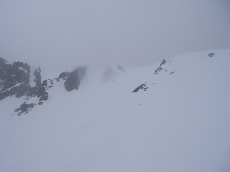 There had been widespread slides on the North-East aspect of Coire nan Lochan