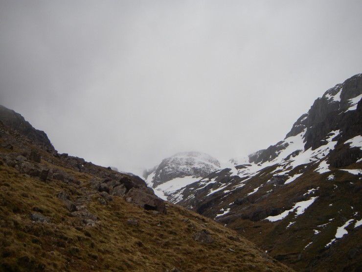 Not much to see, looking up to Stob Coire nan Lochan, first thing.