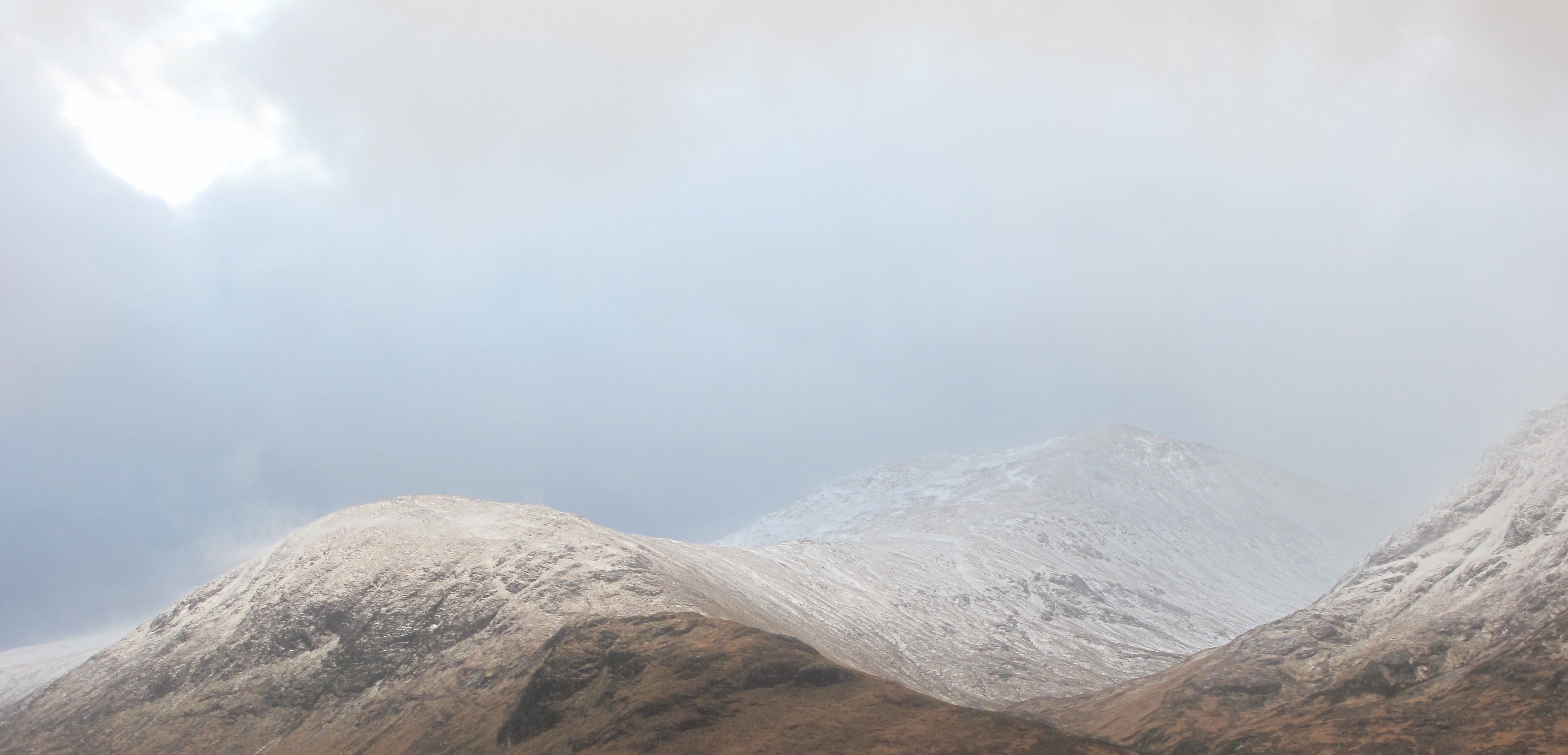 Meall a Bhuiridh - note the wind blowing the snow off Creag Dhubh