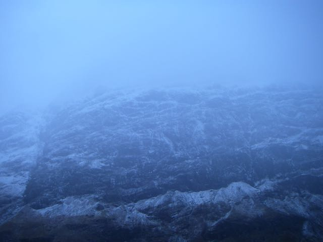 West face of Aonach Dubh in the gloom.
