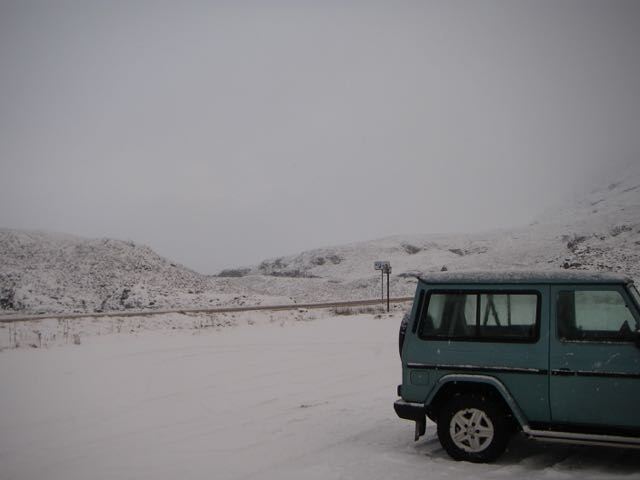 Wintry feeling leaving the car-snow on the A82