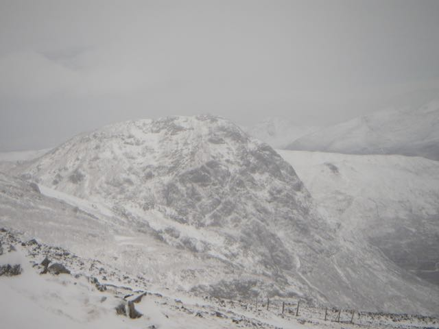 Further East, the Buachaille looking more wintry .  Patchy cover on Meall a Bhuiridh in foreground.