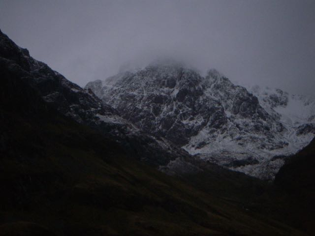 Stob Coire nam Beith was looking a bit more wintry, first thing this morning.