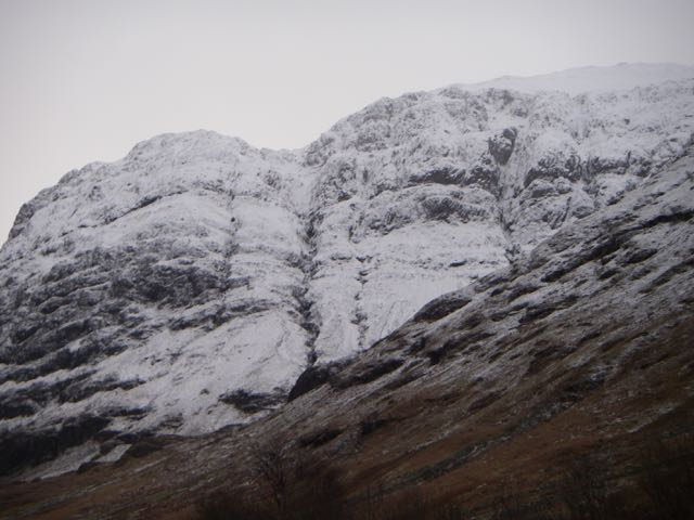 Snow in the tops of the gullies on the West face of Aonach Dubh