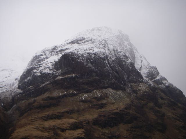 The brooding bulk of Aonach Dubh-Ossians Cave above ramps visible on r.h.s.