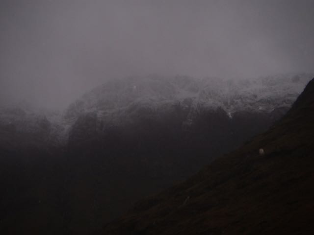 The snow level falling on the West face of Aonach Dubh