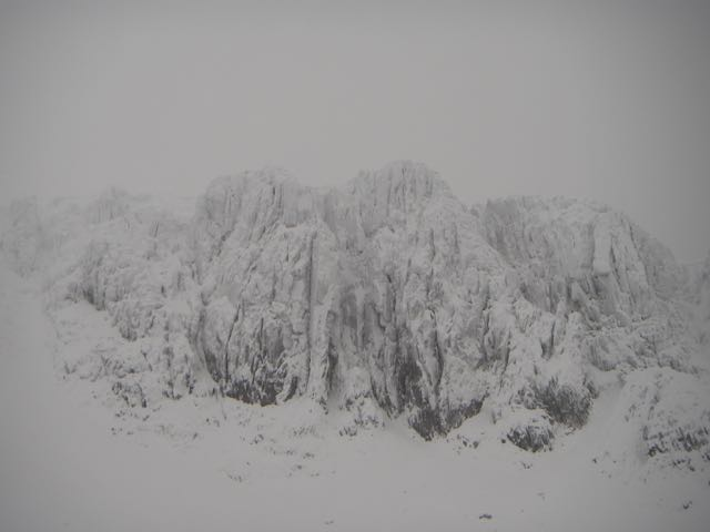 The snow clad cliffs in Coire nan Lochan