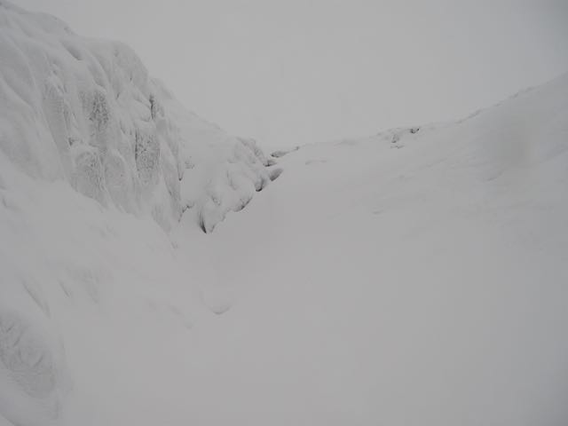 The 'Haggis Trap' on Meall a Bhuiridh - a good sheltered pocket to check snow accumulations.