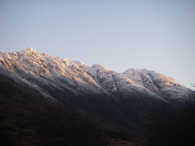 Aonach Eagach ridge under fresh snow