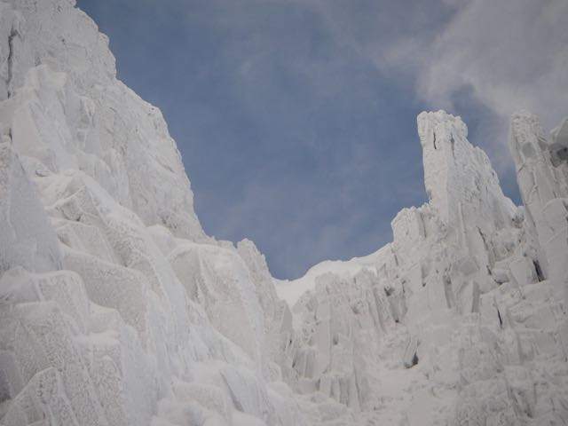 A cornice starting to form above North Gully