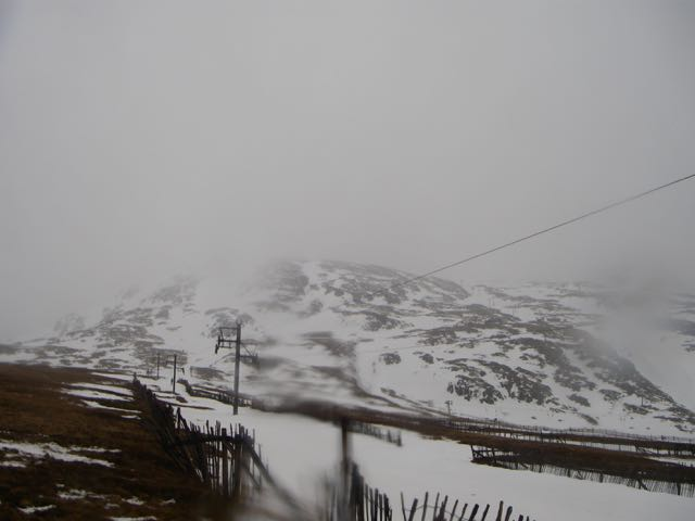 Fresh snow starting to fall on Meall a Bhuiridh by lunchtime