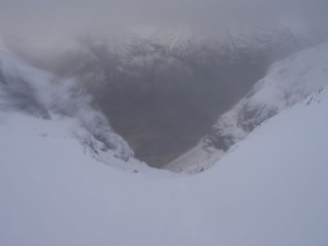 Looking down from the lip of Coire nan Lochan