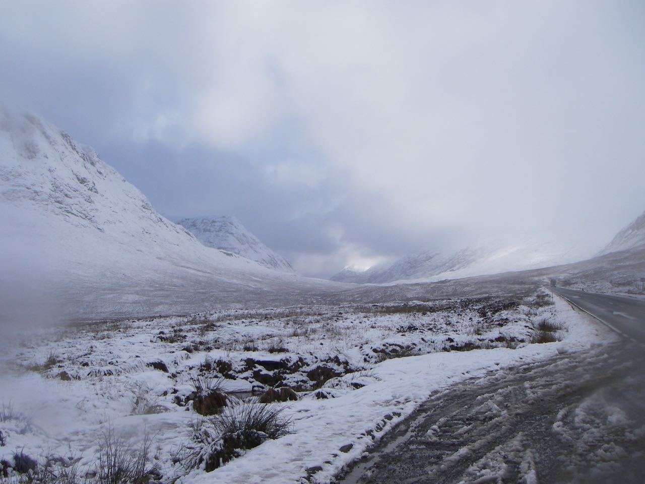 Snow down to road level higher up the glen, near Glen Etive road-end.