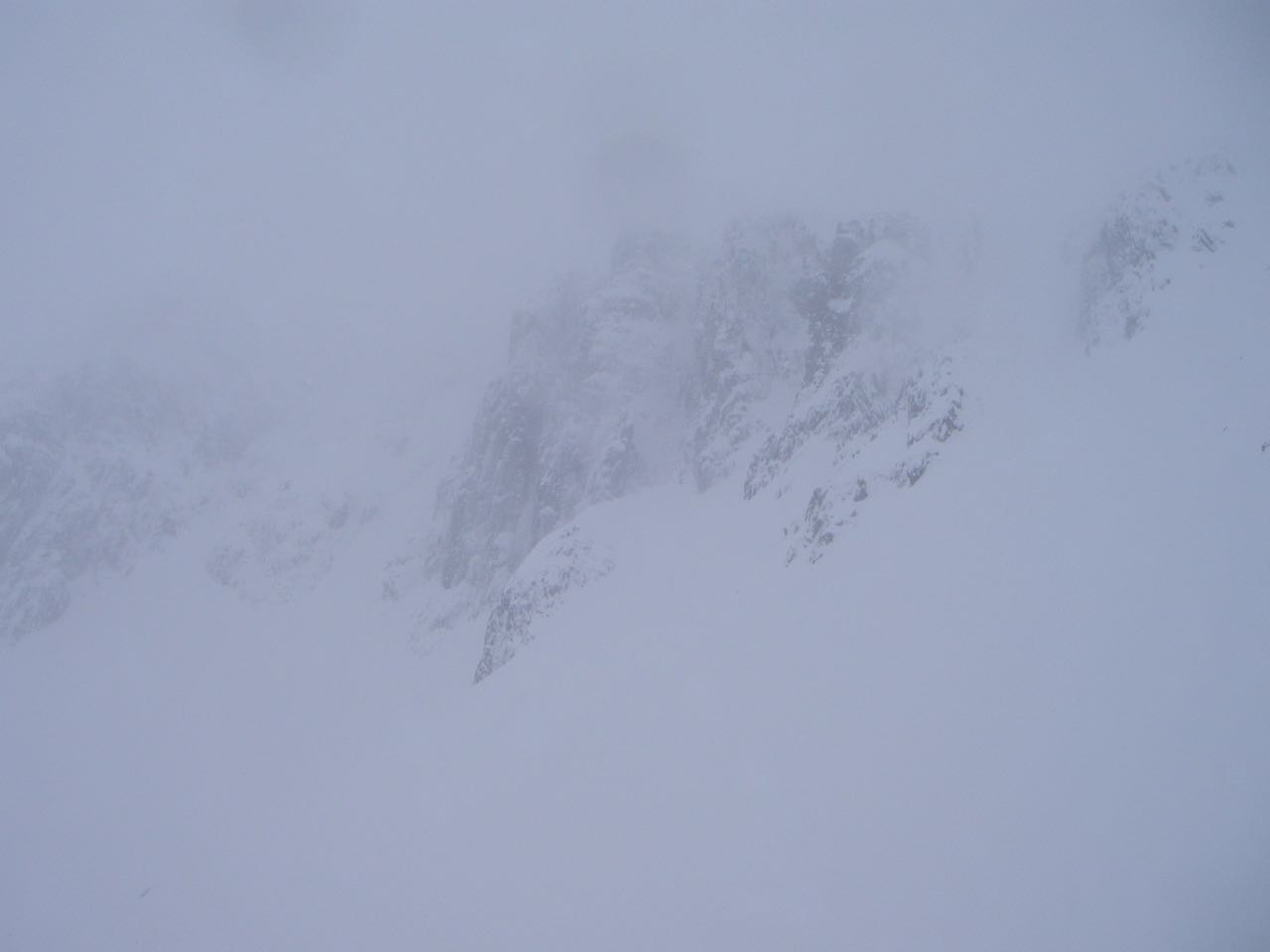 View across the Lochan cliffs showing snow laden faces