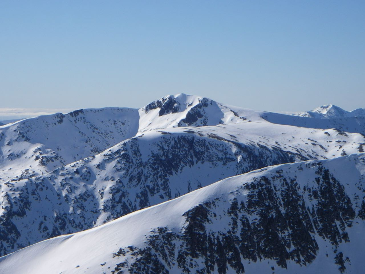 Stob Ghabhar has plenty of snow on its North-Easterly aspects.