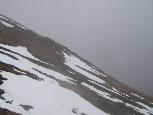 Patchy snow cover at lower elevations this shows wet snow patches @ 600 metres.