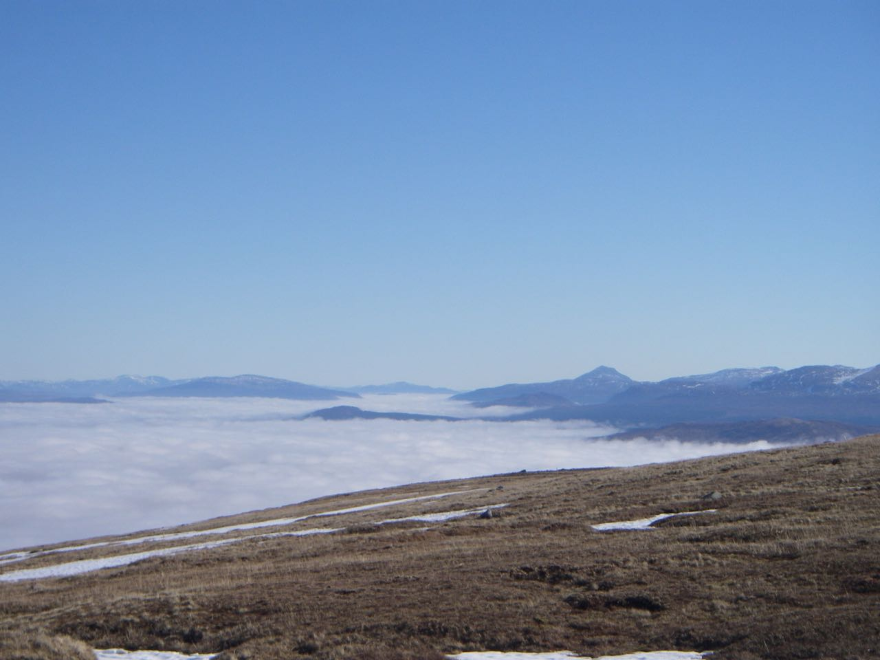 Sea of cloud East of Glencoe across Rannoch Moor