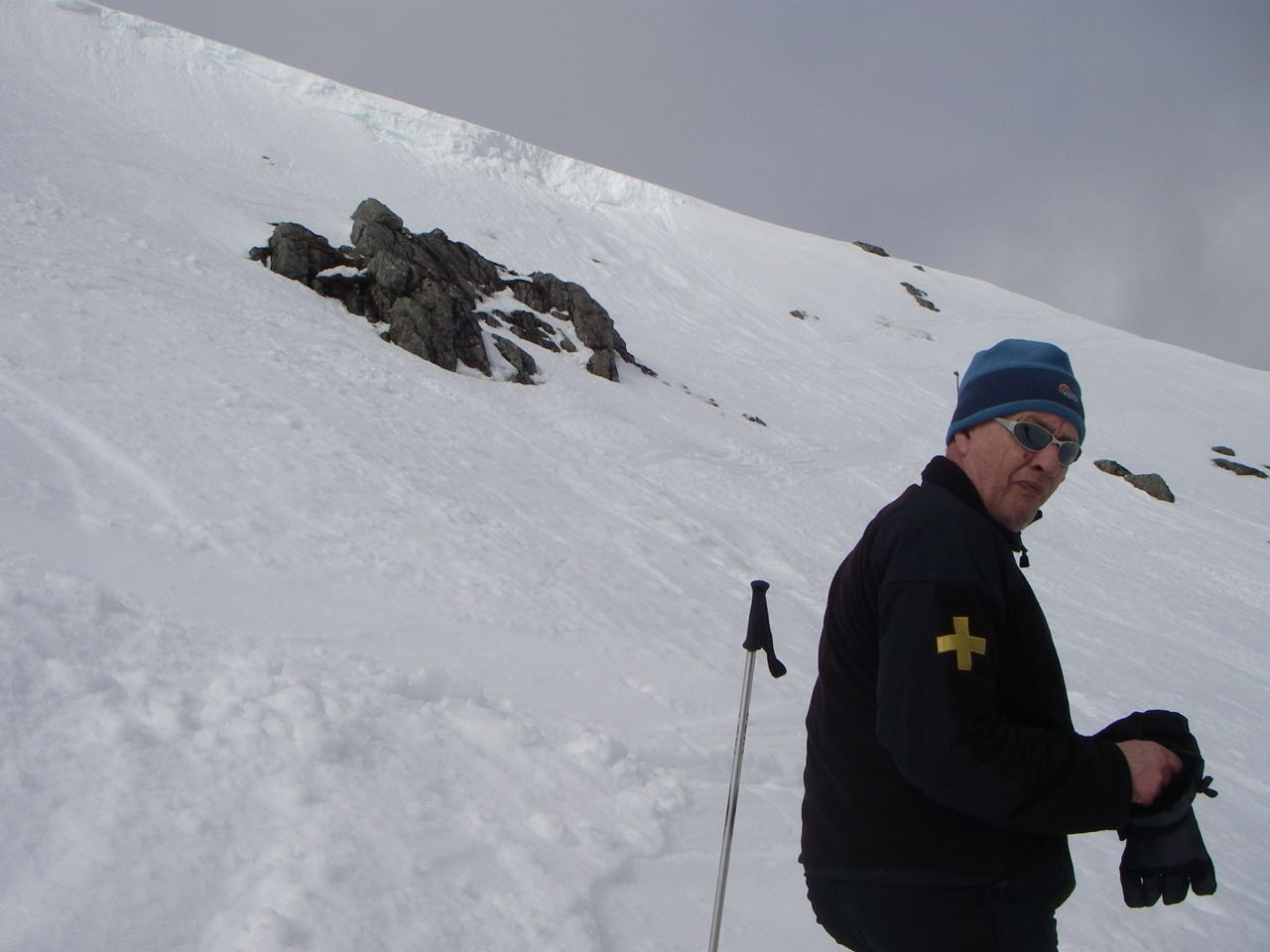 Bobby Williamson the Glen Coe ski patroller concerned about further crown wall collapse.